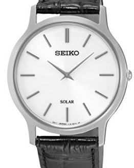 Seiko Mens Black Leather Strap Watch