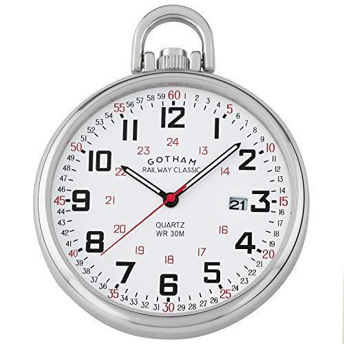 Gotham Men's Stainless Steel Analog Quartz Date Railroad Style Pocket Watch