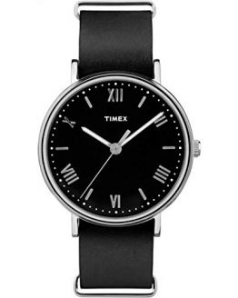 Timex Men's Southview 41mm Black/Silver-Tone Leather Strap Watch