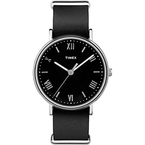 Timex Men's Southview 41mm Black/Silver-Tone Leather Strap Watch