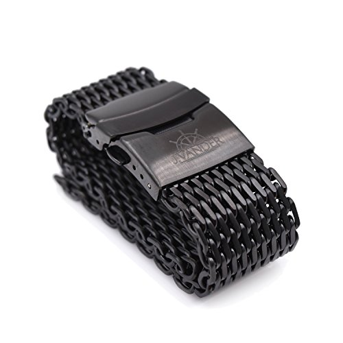 J.VANDER 24mm Brushed PVD Stainless Steel Shark Mesh Dive Watch Band Strap