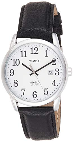 Timex Men's Easy Reader 38mm Black/Silver-Tone/White Leather Strap Watch