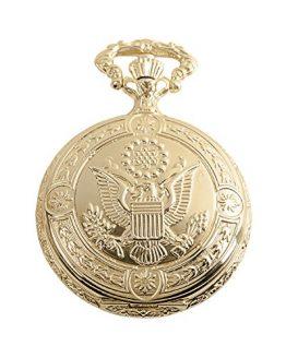 Daniel Steiger American Eagle Luxury Vintage Hunter Pocket Watch with Chain