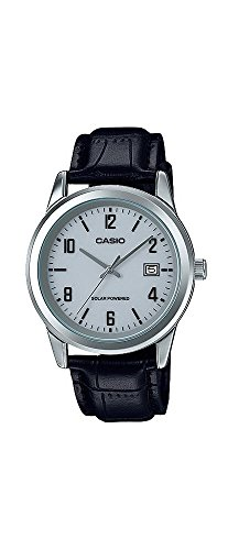 Casio Men's Standard Solar Leather Band Grey Dial Date Watch