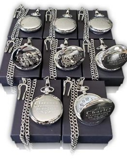 7 Engraved Pocket Watches by Eternity Engraving inc. Custom Fitted Box Included