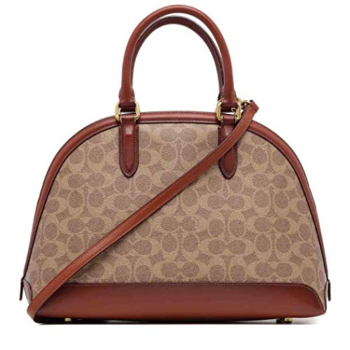 COACH Coated Canvas Signature Quinn Satchel B4/Tan Rust One Size
