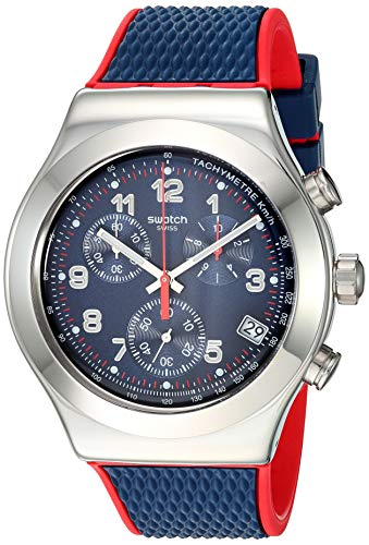 Swatch Irony Stainless Steel Quartz Rubber Strap, Blue, 20 Casual Watch