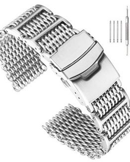 22mm Stylish Stainless Steel Shark Mesh Watch Band H-Link Expansion Watch Strap