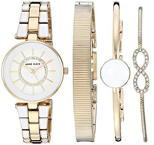 Anne Klein Women's Swarovski Crystal Accented Gold-Tone and White Watch