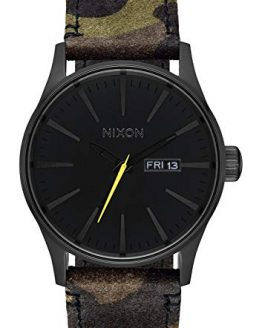 NIXON Sentry Leather A105 - Black/Camo/Volt - 100m Water Resistant