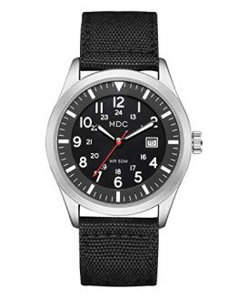 Black Military Analog Wrist Watch for Men, Mens Army Tactical Field Sport Watches