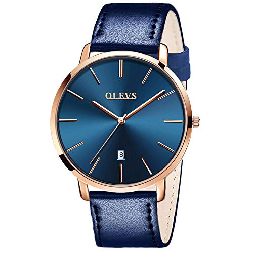 OLEVS Mens Ultra Thin Leather Watches Large Dial Navy Blue