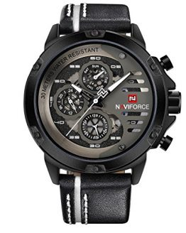 Sport Military Watches for Men Waterproof Watch Analog Quartz Leather