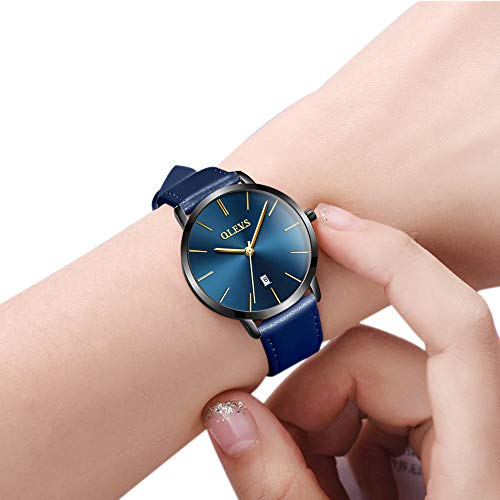 OLEVS Women's Watches for Ladies Female Wrist Watch Royal Blue Dial Leather