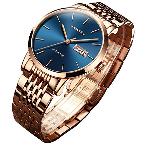 OLEVS Mens Gold Mechanical Watches Automatic Self Winding Sapphire Stainless Steel Minimalism Big Face Navy Blue Dial Ultra Thin Casual Dress Wrist Watch Waterproof with Day Date Calendar Classic Gift