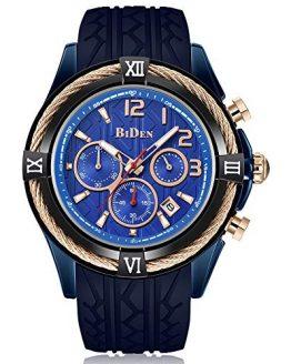 Mens Watches Analog Quartz Gold Black Silicone Strap Big Dial Wrist Watch
