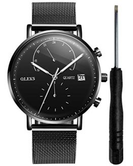 OLEVS Black Inexpensive 24 Hour Watches for Men Waterproof Fashion Mens