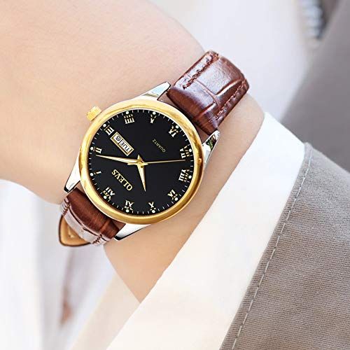 OLEVS Womens Wrist Watches Ladies Female Leather Band Brown Fashion Gold