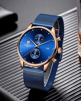 Men's Watch Fashion Ultra Thin Waterproof Watches with Chronograph Mesh