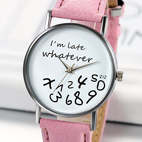 "JewelryWe""I'm Late, Whatever"" Print Watch Women Ladies Girls Love Gift Leather"