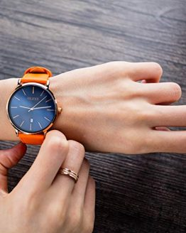 OLEVS Womens Big Wrist Watches for Lady Female Valentine's Day Leather