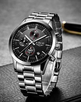 LIGE Men's Watches Fashion Watch Silver Black Luxury Military Sport Waterproof