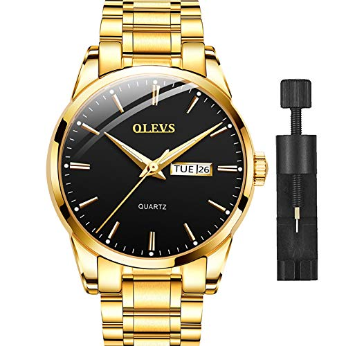 Gold Stainless Steel Watches for Men,Black Face Watch with Day and Date,Luxury Watch Men Fashion Quartz Wrist Watch,Best Waterproof Dress Watches for Men,Classic Man Watches for Male,Luminous Dial