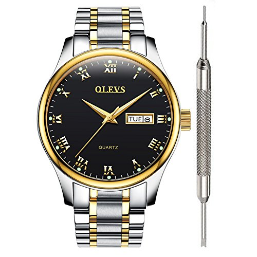 OLEVS Black Mens Inexpensive Great Watches for Men Black Waterproof Watch Calendar 2020 Stainless Steel with Date Analog Quartz Couple Watches Holiday Valentine's Day Gifts for Men