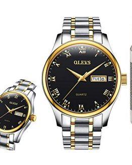 OLEVS Black Classic Watches for Men Waterproof Fashion Analog Quartz Wrist
