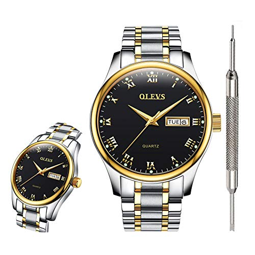 OLEVS Black Classic Watches for Men Waterproof Fashion Analog Quartz Wrist