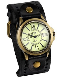 JewelryWe Vintage Leather Strap Wide Band Wristwatch Cuff Quartz Watch