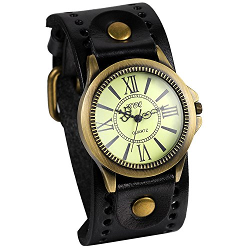 JewelryWe Vintage Leather Strap Wide Band Wristwatch Cuff Quartz Watch