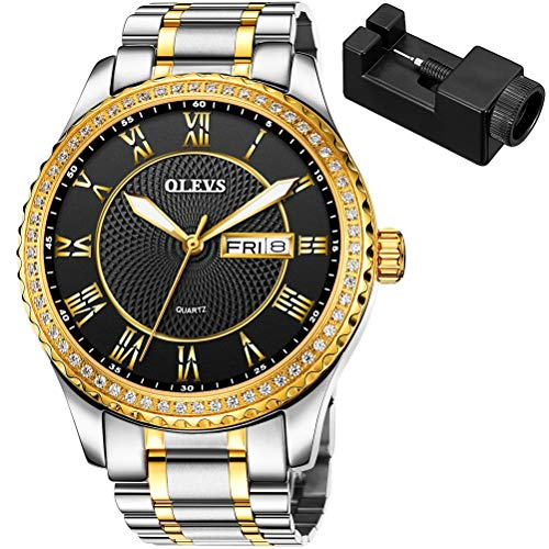 OLEVS Mens Watch Gold Wrist Watches Waterproof Quartz Large Face Black