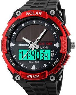 Fanmis Men's Solar Powered Casual Quartz Wrist Watch Analog Digital