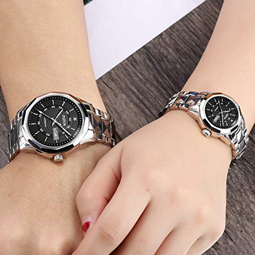 JSDUN His and Hers Tungsten Steel Sapphire Automatic Mechanical Couples
