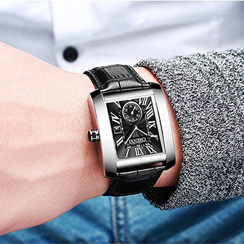JewelryWe Luxury Square Independent Second Dial Japan Quartz Watch
