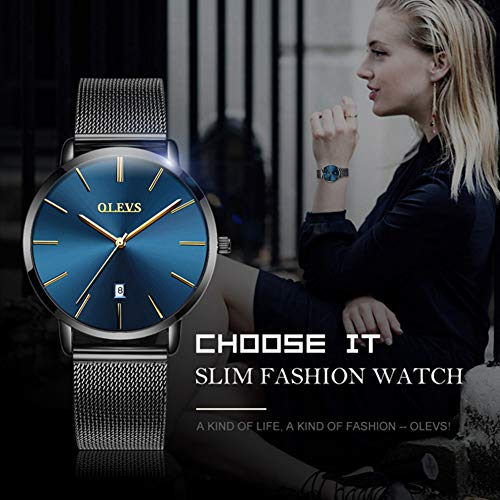 OLEVS Blue Inexpensive Watches for Women Waterproof Thin Couples Minimalist