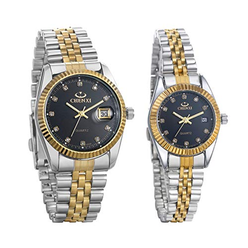 JewelryWe Luxury Couple Watches Gold-Silver Tone Stainless Steel Quartz Calendar