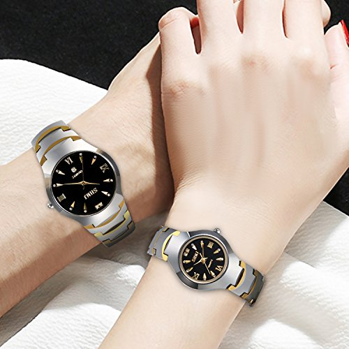 JewelryWe Men's Womens Wrist Watch Tungsten Carbide Calendar Quartz His