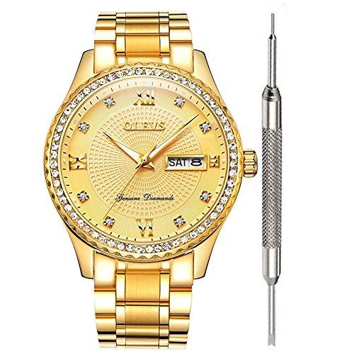 OLEVS Gold Watches for Men Waterproof Diamond Inexpensive Luxury Watches