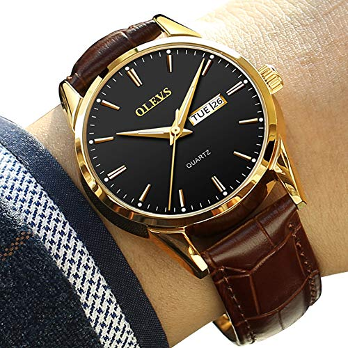 Day Date Watches for Men,Brown Leather Watch for Men,Men Dress Watches