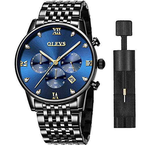 Mens Watches Black Stainless Steel,Men's Waterproof Chronograph Quartz Analog