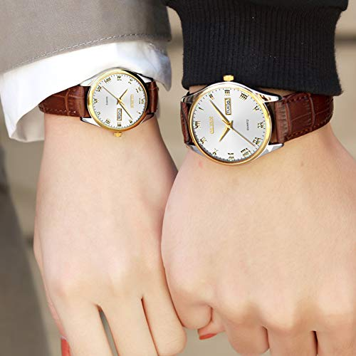OLEVS Women's Business Dress Watches for Ladies Female White Dial Brown Leather