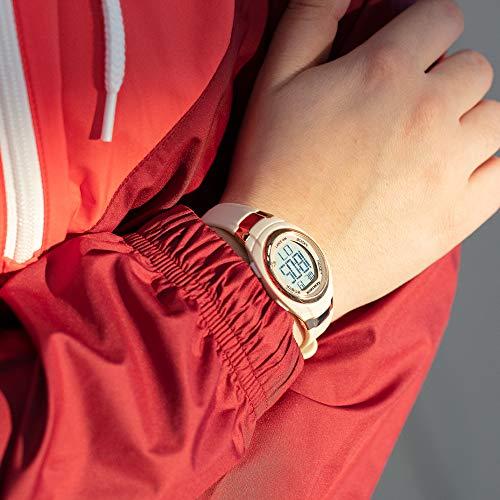 Armitron Sport Women's Rose Gold-Tone Accented Digital Chronograph Blush