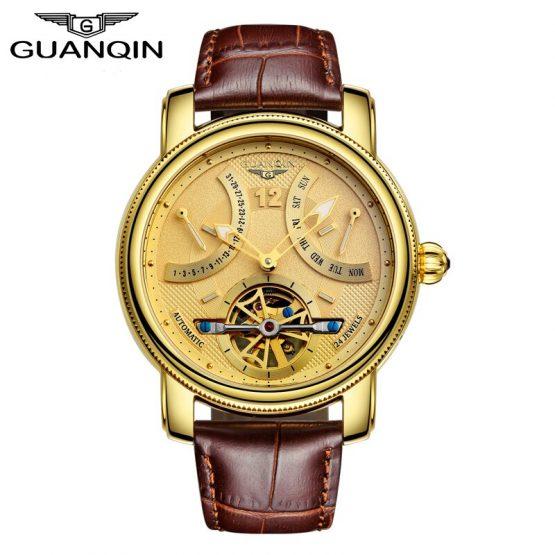 GUANQIN Tourbillon Mechanical Watch Men Automatic Sapphire