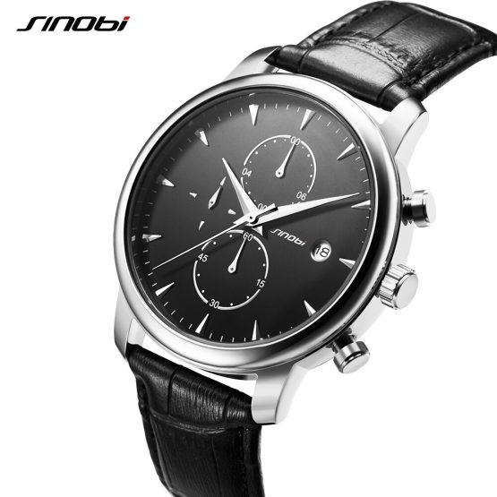 SINOBI Mens Wrist Watches Top Brand Luxury Leather