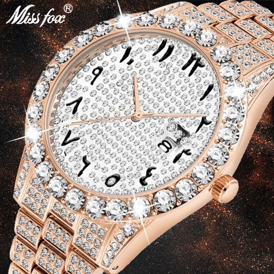Arabic Numerals Diamond Watch Men Rose Gold