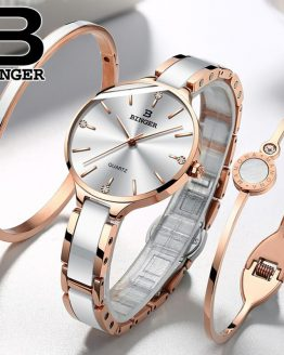 Switzerland BINGER Luxury Women Watch Brand Crystal