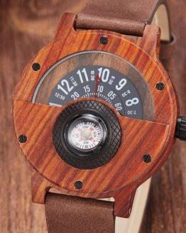 Wooden Watch Men Wrist Real Solid Natural Walnut
