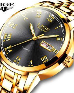 LIGE Men Gold Wrist Watch Fashion Sport